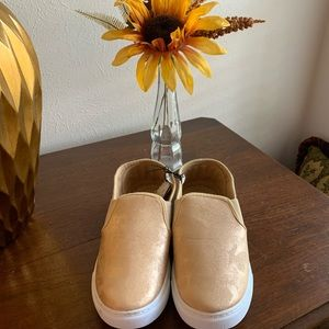 NWT Gold Colored Slip On Sneakers